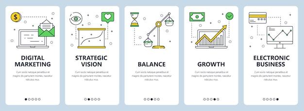 Conjunto de banners verticales con marketing digital