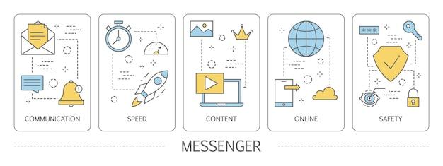 Conjunto de banners verticales de messenger.