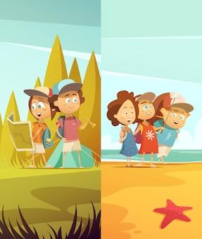 Conjunto de banners verticales para niños de camping.
