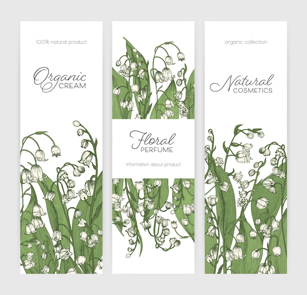 Conjunto de banners verticales o plantillas de etiquetas con flores de lirio de los valles dibujadas a mano sobre fondo blanco.