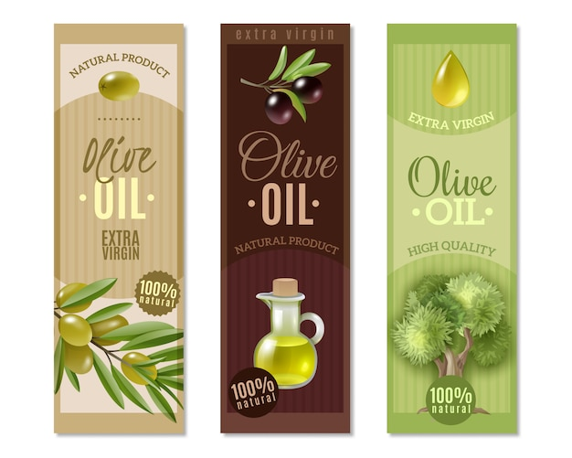 Conjunto de banners verticales de oliva