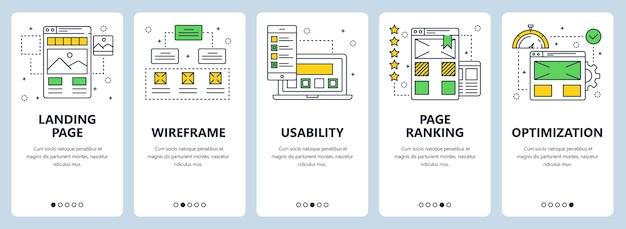 Conjunto de banners verticales con página de destino, estructura alámbrica, usabilidad, ranking de página, plantillas de optimización de sitios web.