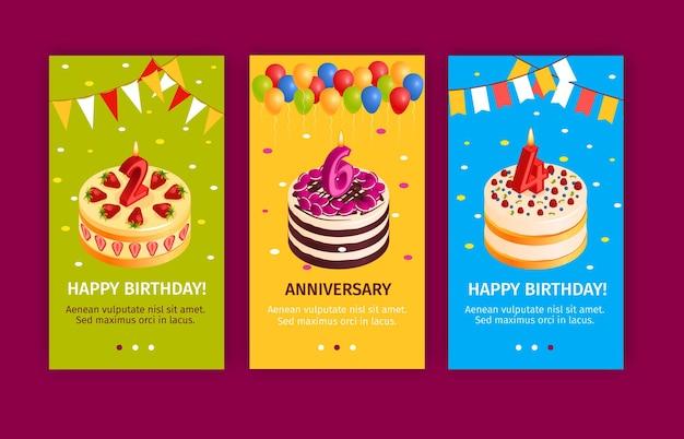 Conjunto de banners verticales de pastel de cumpleaños