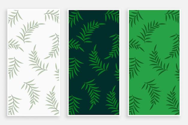 Conjunto de banners verticales de patrón de hojas