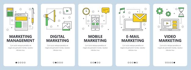 Conjunto de banners verticales con plantillas de sitios web de gestión de marketing, digital, móvil, correo electrónico y video marketing.