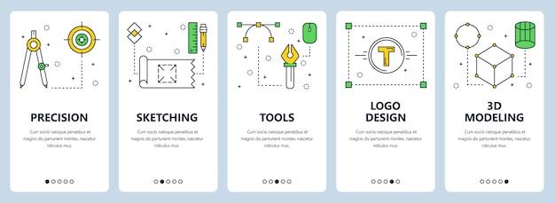 Conjunto de banners verticales con precisión, bocetos, herramientas, diseño de logotipos, plantillas de sitios web de modelado 3d.