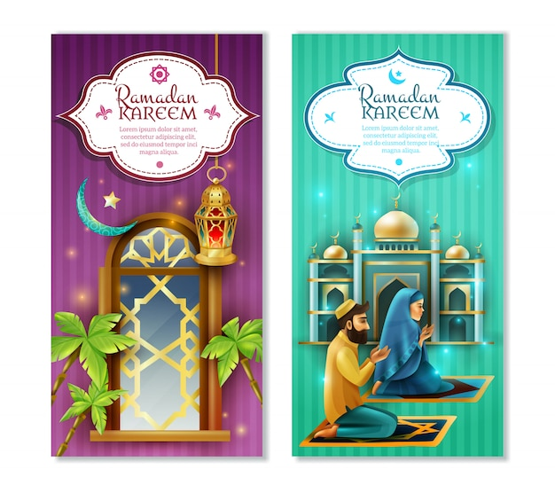 Conjunto de banners verticales ramadan kareem 2