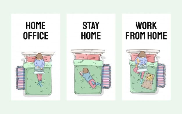 Conjunto de banners verticales para redes sociales e historias. quedarse en casa, oficina en casa, trabajar desde la colección de casa