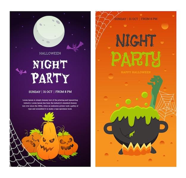 Conjunto de banners verticales con temática vectorial para la fiesta de halloween