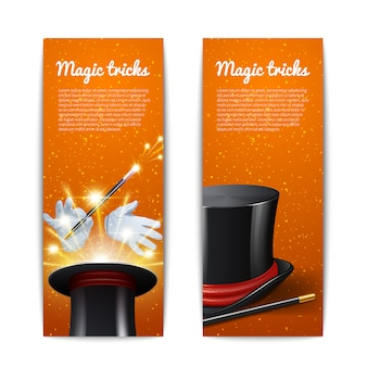 Conjunto de banners verticales truco de magia.