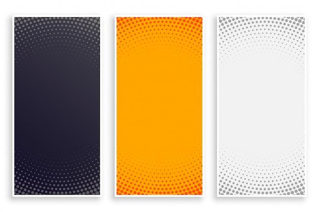 Conjunto de banners verticales vacíos de estilo abstracto de semitono