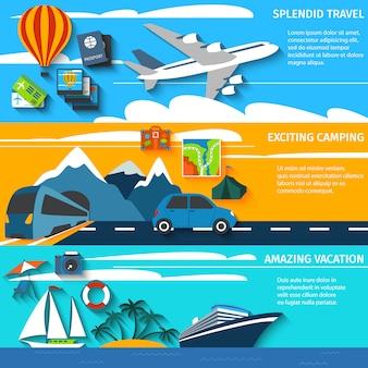 Conjunto de banners de viaje de vacaciones camping.