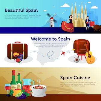 Conjunto de banners de viajeros bienvenidos a españa.