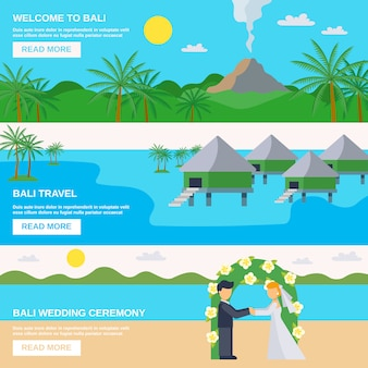 Conjunto de banners de viajes de bali