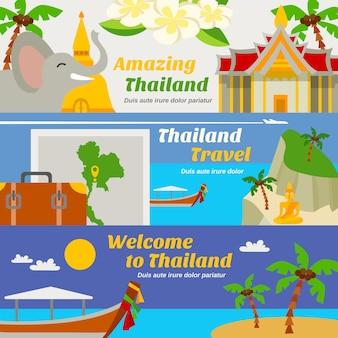 Conjunto de banners de viajes de tailandia