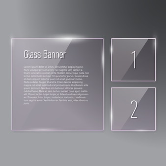 Conjunto de banners de vidrio cuadrado reflectante sobre fondo degradado