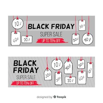Conjunto de banners de viernes negro dibujado a mano