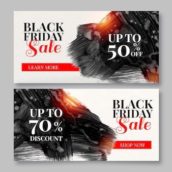 Conjunto de banners de viernes negro de mancha de acuarela