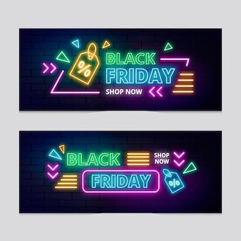 Conjunto de banners de viernes negro de neón