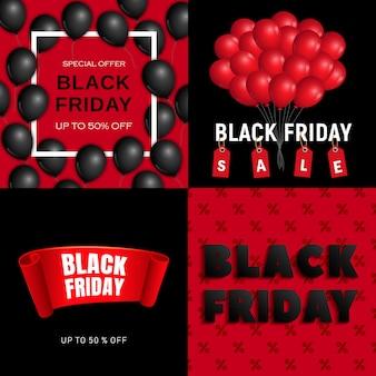 Conjunto de banners de viernes negro