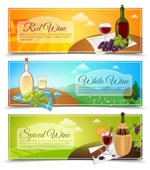 Conjunto de banners de vino