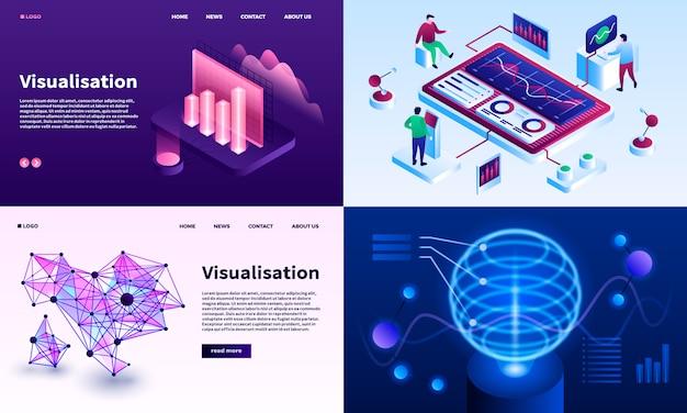 Conjunto de banners de visualización. conjunto isométrico de visualización.