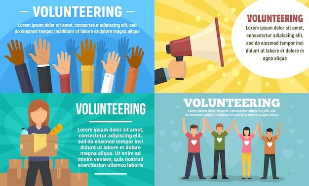 Conjunto de banners de voluntariado