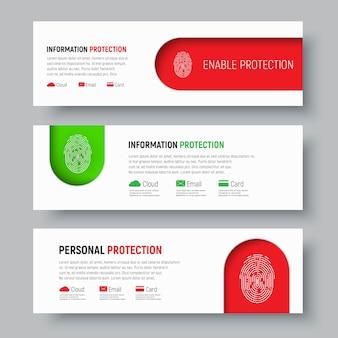 Conjunto de banners web blancos con huella digital en colores rojo y verde
