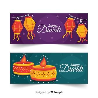 Conjunto de banners web diwali dibujados a mano