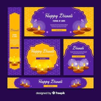 Conjunto de banners web diwali de diseño plano