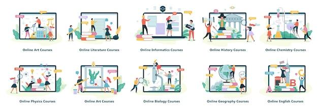 Conjunto de banners web de educación en línea. idea de aprendizaje a distancia y cursos remotos. estudiar usando la computadora. curso digital. ilustración en estilo de dibujos animados