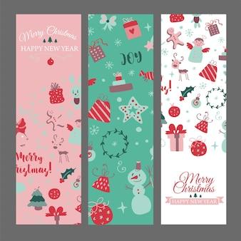 Conjunto de banners web con elementos de diseño navideño en vector de tarjetas navideñas estilo doodle