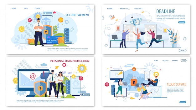 Conjunto de banners de web flat de business technologies