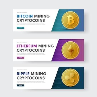 Conjunto de banners web horizontales con una diagonal y con una moneda de oro rizado de moneda criptográfica, bitcoin y ethereum.