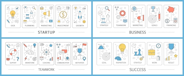 Conjunto de banners web de inicio de negocios. idea de creatividad