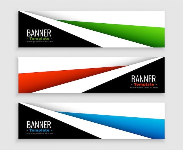 Conjunto de banners web moderno geométrico de tres