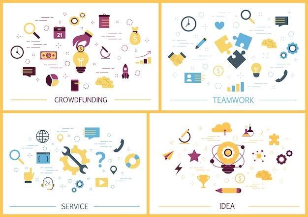 Conjunto de banners de web de negocios. idea y pensamiento creativo