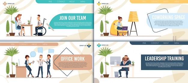 Conjunto de banners de web plana de servicios empresariales