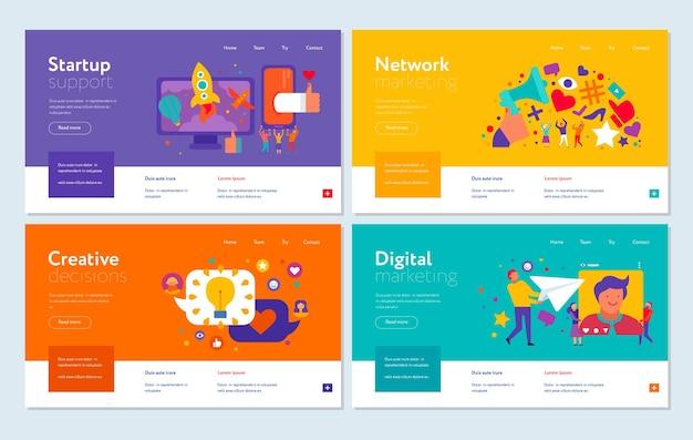 Conjunto de banners web puesta en marcha de marketing digital.
