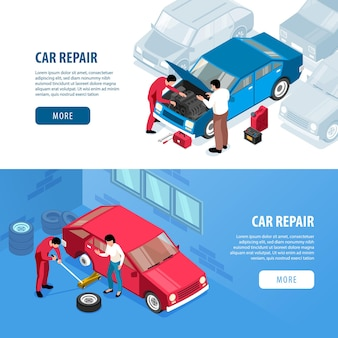 Conjunto de banners web de reparación de automóviles isométricos, piezas de automóviles y gente trabajadora
