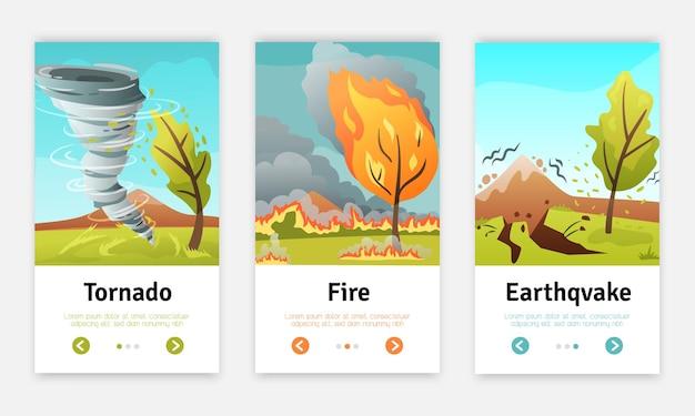 Conjunto de banners web verticales de desastres naturales.