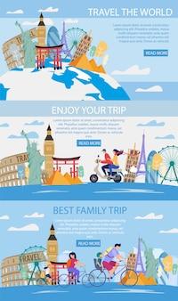 Conjunto de banners web de viaje a atracciones mundiales