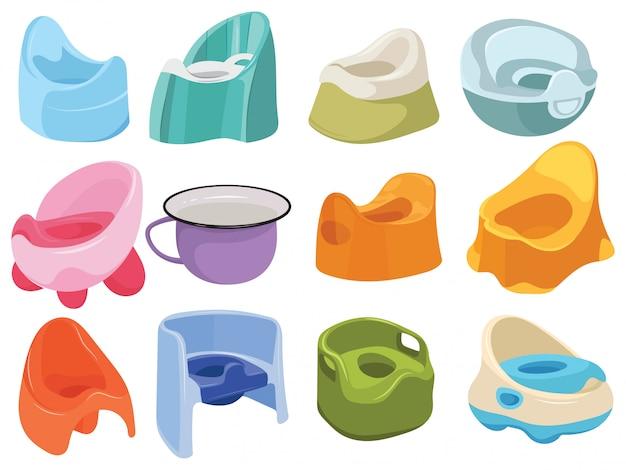 Conjunto de baños para niños. colección de inodoros para niños. ilustración de una olla de bebé.