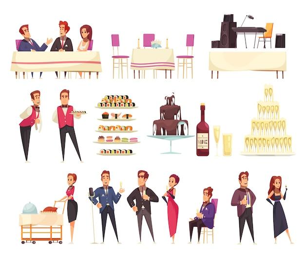 Conjunto de banquetes de iconos de dibujos animados, personal de servicio e invitados alimentos, música, elementos interiores