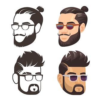 Conjunto de barba afeitada y afeitada masculina de moda