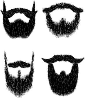 Conjunto de barba hipster rizada peluda para no shave november