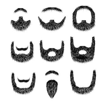 Conjunto de barba realista aislado sobre fondo blanco