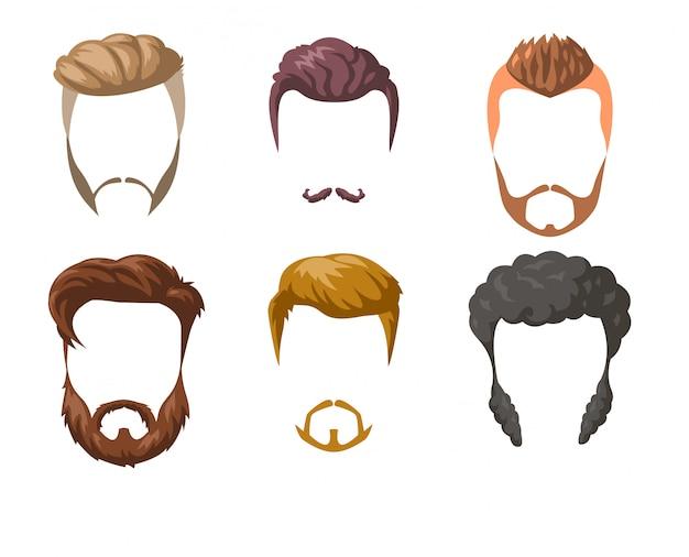 Conjunto de barbas, bigotes y peinados.