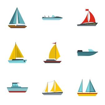 Conjunto de barco, estilo plano
