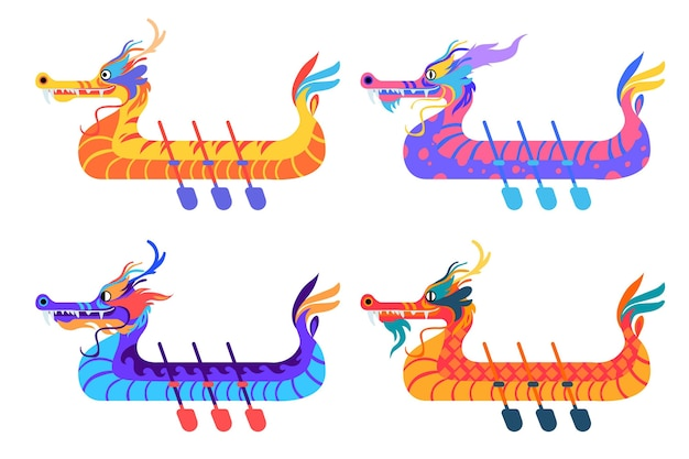 Conjunto de barcos para evento tradicional chino